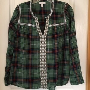 J Crew plaid and embroidered top
